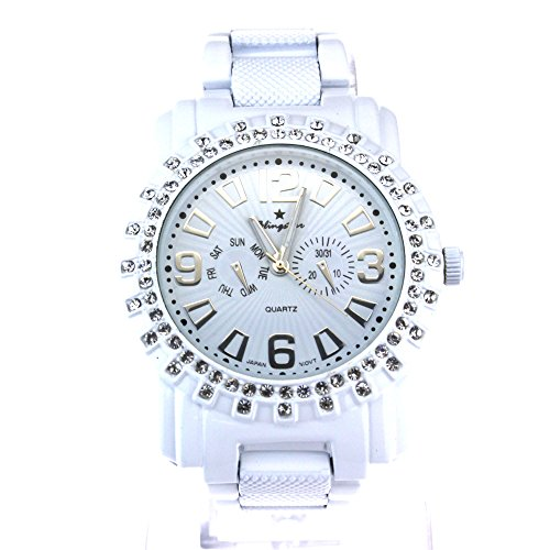 Mens Rhinestone Bling Luxury Hip Hop Baller Iced Out Metal Wrist Watch White by SA106