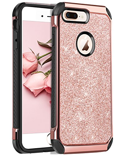 BENTOBEN Shockproof Luxury Sleek Glitter Sparkly Bling Cute Shiny 2 in 1 Soft TPU Bumper Hybrid Hard PC with PU Faux Leather Protective Phone Cover for Girls & Women, Rose Gold (Leather Telephone)