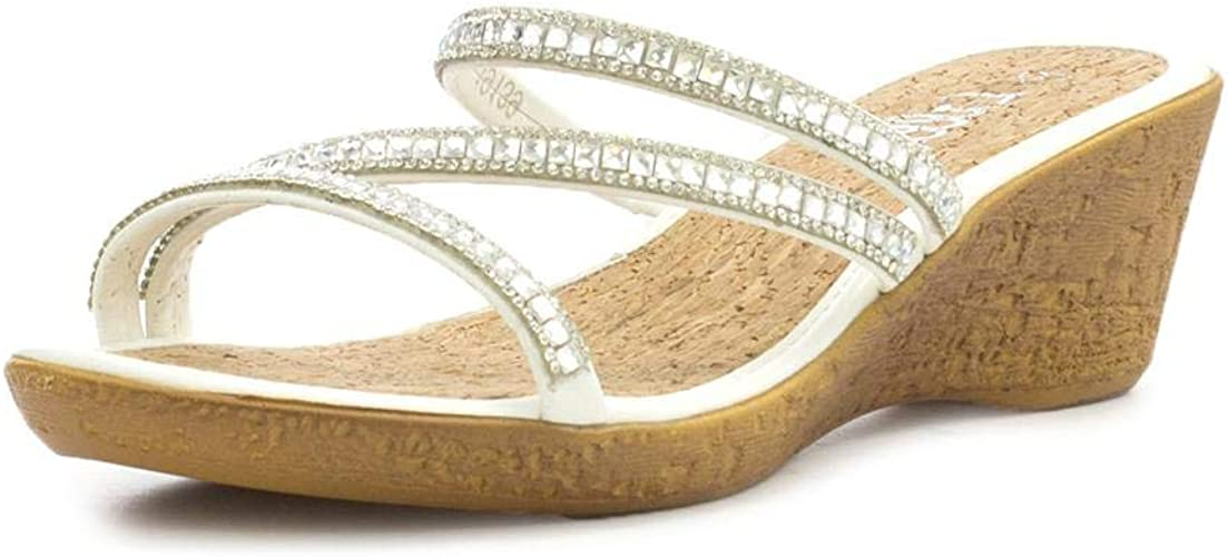 Lilley Womens White Diamante Wedge Mule