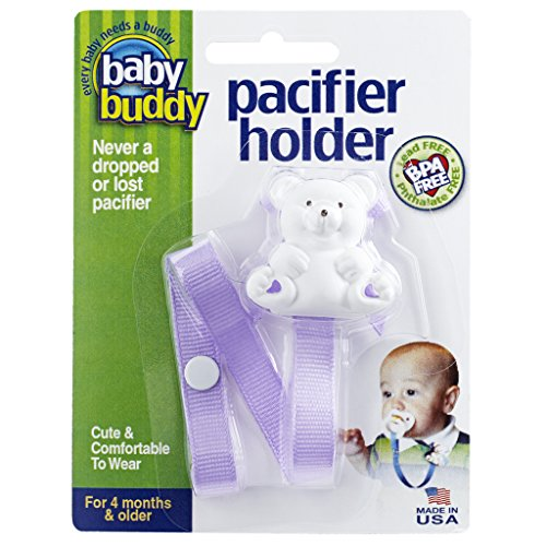 Baby Buddy Pacifier Holder Clip - Cute Fashionable Bear Clips onto Baby's Shirt, Snaps to Paci, Teether, Toy - For Babies 4+ Months - Pacifier Clip for Toddlers Boys & Girls, Lilac, 1 Count