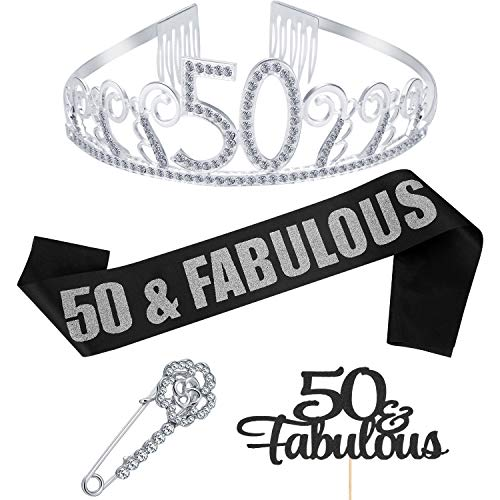 (1 Set 50th Birthday Tiara and Sash 50th Birthday Party Supplies Include  Crystal Tiara Birthday Crown, Fabulous Black Glitter Satin Sash, Rose Brooch Pin, Cake Topper Letters)