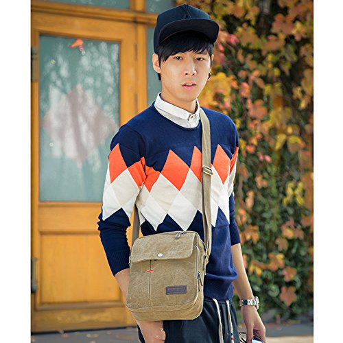 Messenger Small Domybest Business Handbag brown Multi function Shoulder Bags Canvas Men Khaki Leisure AwIpUYq