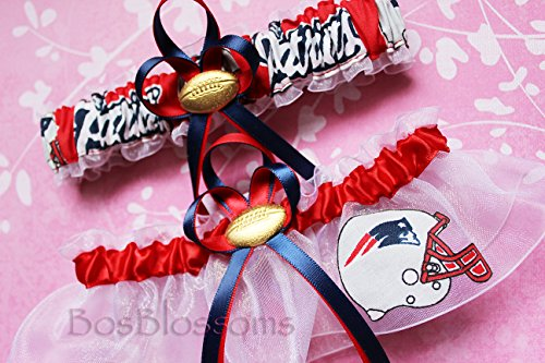 Customizable – New England Patriots fabric handmade into bridal prom white organza wedding garter set with football charm – helmet logo