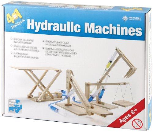 Pathfinders Hydraulic Machines 4-in-1 Wooden Kit (Cherry Picker, Platform Lifter, Excavator, Scissor Lift)