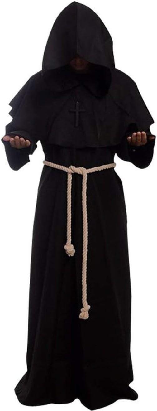160-170CM Frmarche Halloween Costume M/édi/évale Robe /à Capuche Moines Pr/être Robe Cape Manteau Renaissance Halloween D/écoration D/éguisement Soir/ée D/éguis/ée V/êtements Noir, S