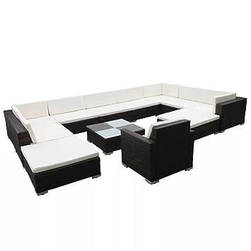 Luckyfu este Set sofá de jardín 35 Unidades de Polirratán Negro.El Juego Sono Robusto