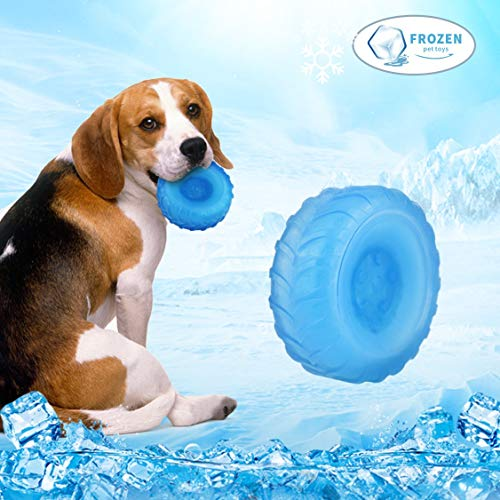 Idepet Dog Cooling Chew Toy,Non-Toxic Tire Summer Pet Puppy Soft Silicone Durable Bite Resistant Tooth Cleaning Ice…