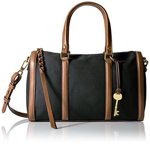 Fossil Kendall Satchel Handbag, Black/Dark Brown by Fossil