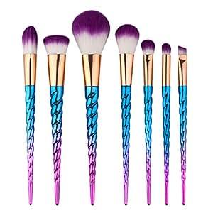 King Love Star Pinceles de maquillaje 7 piezas Manija de color plateado Unicornio Maquillaje cepillos Cosmético Fundación Ojo Cara Sonrojo Cepillos