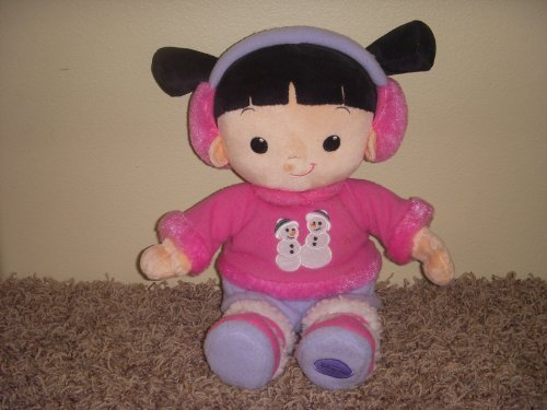 """Unique Disney Monsters Inc 13"""" Winter Time Boo Doll with Ear Muffs and Snowmen Fluffy Pink Shirt"""