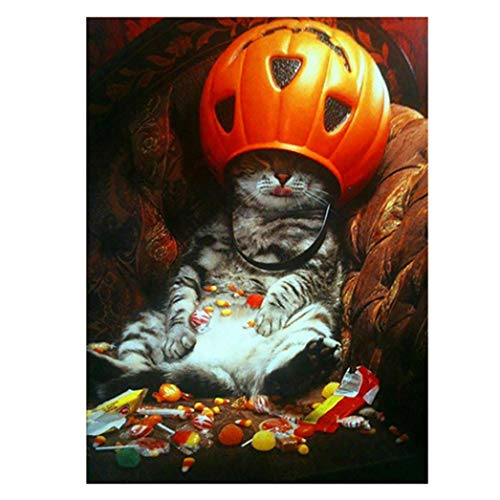 5D DIY Diamond Painting,[Not Full Drill] by Number Kits Crafts & Sewing Cross Stitch,Wall Stickers for Living Room Decoration,Halloween Decor Cartoon Pumpkin Cat (A) -