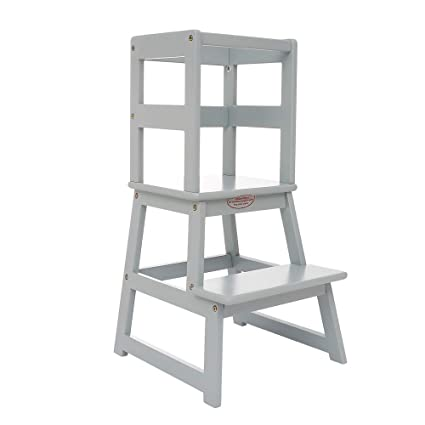 SDADI Kids Kitchen Step Stool with Safety Rail for Toddlers 18 Months and Older Gray LT01G