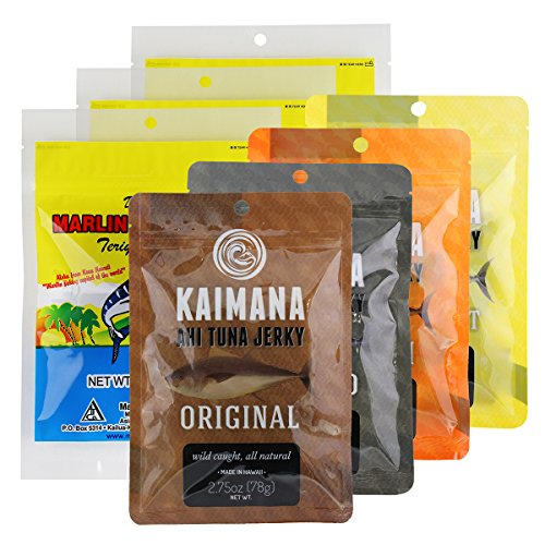 Kaimana Jerky Ahi Tuna Jerky and Marlin Jerky Variety Bundle 7 Pack - 7 unique flavors included. Original, Teriyaki, Peppered Tuna Jerky and more. All Natural & Wild Caught Fish. Made in USA. - Flavor Fish Jerky