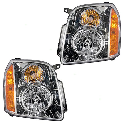 - Pair Set Halogen Combination Headlights Headlamps Replacement for 07-14 GMC Yukon & Yukon XL 15861025 15861026 AutoAndArt