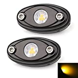 LEDMIRCY LED Rock Lights Amber Kit for JEEP Off Road Truck ATV SUV Car Boat High Power Underbody Glow Neon Trail Rig Lights Underglow Lights Waterproof Shockproof(Pack of 2,Amber)