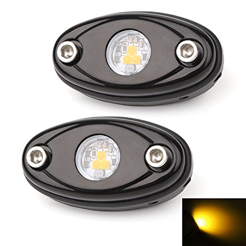 - LEDMIRCY LED Rock Lights Amber Kit for JEEP Off Road Truck ATV SUV Car Boat High Power Underbody Glow Neon Trail Rig Lights Underglow Lights Waterproof Shockproof(Pack of 2,Amber)