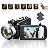 Video Camera Camcorder Digital Camera Recorder Full HD 1080P 30FPS Vlogging Camera for YouTube 24MP 18X Digital Zoom with Remote Control Vlog Camera 3.0' 270 Degree Rotation Screen 2 Batteries (V10)