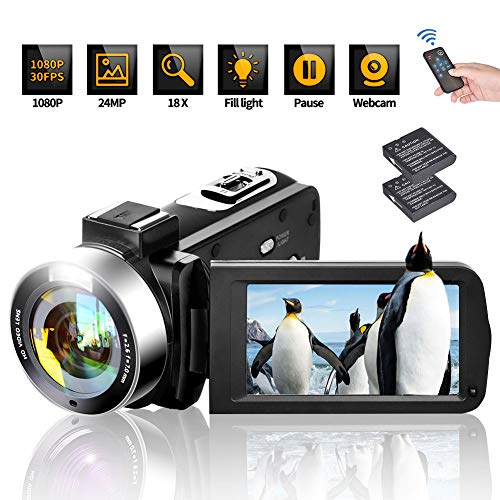 Video Camera Camcorder Digital Camera Recorder Full HD 1080P 30FPS Vlogging Camera for YouTube 24MP 18X Digital Zoom with Remote Control Vlog Camera 3.0″ 270 Degree Rotation Screen 2 Batteries (V10)