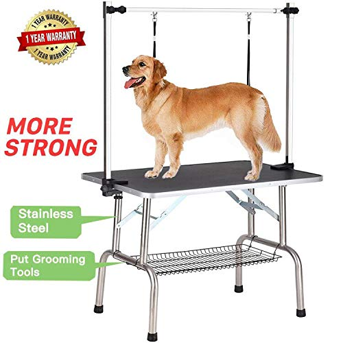 Professional Dog Pet Grooming Table Large Adjustable Heavy Duty Portable w/Arm & Noose & Mesh Tray, Maximum Capacity Up to 250LB (Up Best Pet Grooming)