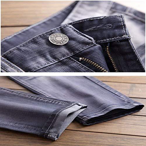Straight Hellgrau Ropa Hombres Cher Casual Rasgados Pantalones Agujeros Los Muslos De Retro Washed Essentials Mezclilla Jeans Fashion Saoye xqfwFPTI8n