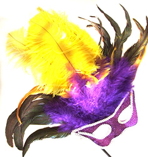 Cat Feather Mask - Cat Eye Feather Wand Mask Halloween Prom Costume Party Purple Green Gold