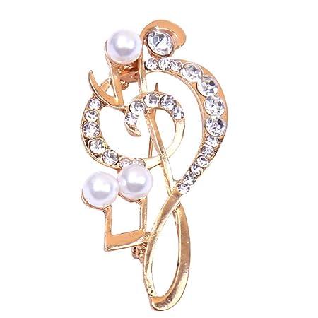 Broche de diamantes de imitación y perlas artificiales ...