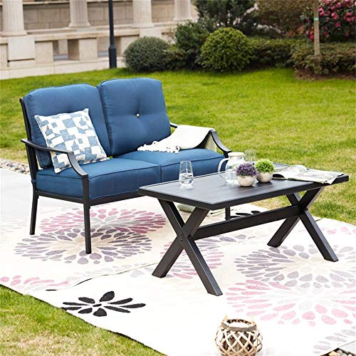 Patio Festival Outdoor Loveseat Bench,2PCs Conversation Furniture Set with Cushions,for Garden,Yard,Poolside and Patio (Blue)