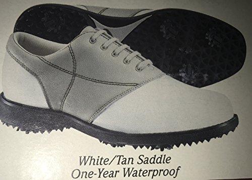 Etonic Dri-Lite 300 Leather Tan Taupe White Saddle Ladies Waterproof Golf Shoes (6M)