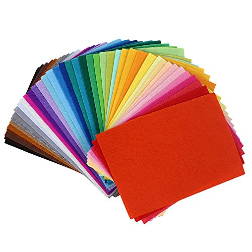 QIUCHUANG 3.9x5.9 Inch 40Pcs Felt Fabric Sheets Patchwork Sewing DIY Polyester Craftwork Thickness (Patchwork Felt)