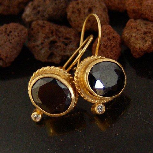 Gold Vermeil Onyx Earrings - 925k Sterling Silver Handmade Designer Onyx Earrings 24k Gold Vermeil Handcrafted Turkish Designer Jewelry Women Dangle Earrings