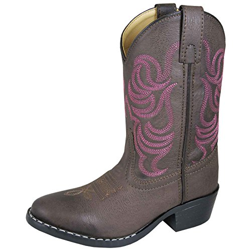 Girl Mountain - Smoky Mountain Girls Brown with Pink Stitch Monterey Western Cowboy Boots,3.5 M US Big Kid