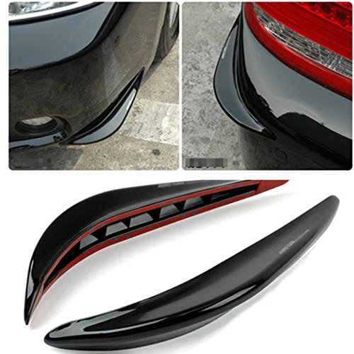 Nicebee 2 Pcs Car Anti-rub Crash Strip Black Exterior Streamline Guard Cover Sticker Protector Front & Rear Back Bumper -