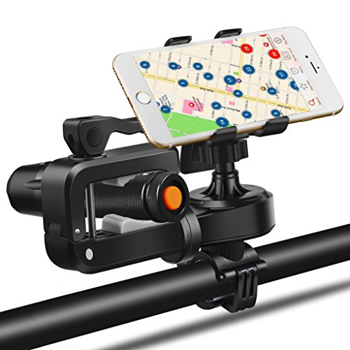 Captink Bike Mount, flashlight handset amphibious Universal Cell Phone Bicycle Handlebar & Motorcycle Holder Cradle with 360 Rotate for the iPhone 6 s 5 s 5 c, Samsung Galaxy S5 S4 S3,