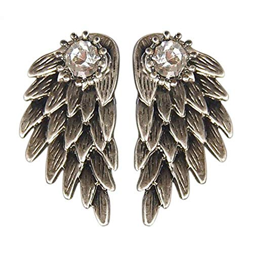 TenDollar Fashion Party Angel Inlaid New Wings Earrings Alloy Rhinestone (Old Silver)