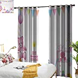 Anyangeight Kids Birthday,Decor Curtains by,Baby Girl Birthday Celebration Party with Flags and Bears Cute Toys Print,W108 xL108,Suitable for Bedroom Living Room Study, etc.