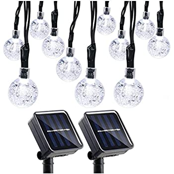 Qedertek 2 Pack Globe Outdoor Solar String Lights, 19.7ft 30 LED Solar Globe Lights Outdoor for Home, Patio, Lawn, Garden, Party and Holiday Decoration(Cool ...