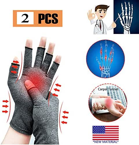 Arthritis Gloves, New Material, Compression for Arthritis Pain Relief Rheumatoid Osteoarthritis and Carpal Tunnel, Premium Compression & Fingerless Gloves for Computer Typing and Daily Work