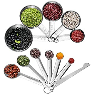 JUYYIMEI Stainless Steel Measuring Cups and Spoons Set with Measuring Ruler - 7 Pieces Measuring Spoons and 5 Pieces Measuring Cups Set