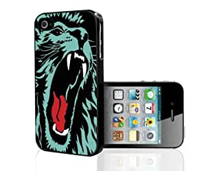 Black and Blue Lion Face Hard Snap on Case (iPhone 4/4s)