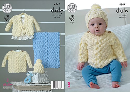 King Cole Baby Chunky Knitting Pattern Cable Knit Sweater Cardigan Hat & Blanket (4847) (Cable Knit Baby Blanket Pattern)