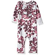 Burt's Bees Baby Baby Girls' Organic One-Piece Romper Coverall, Lavender Fields Chocolate Cosmos, 0-3 Months