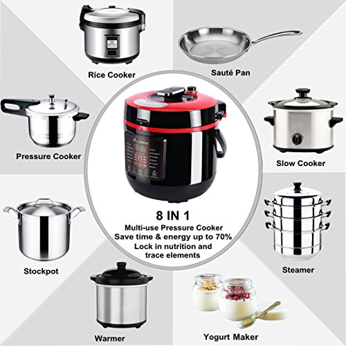 Aobosi Pressure Cooker 6Qt 8-in-1 Electric Multi-cooker,Rice Cooker,Slow Cooker,Sauté,Yogurt Maker,Steamer|6 Pressure Levels|Safe Release Button|Free Cooking Rack,Cookbook,Sealing Ring,Stainless Steel by AAOBOSI (Image #1)