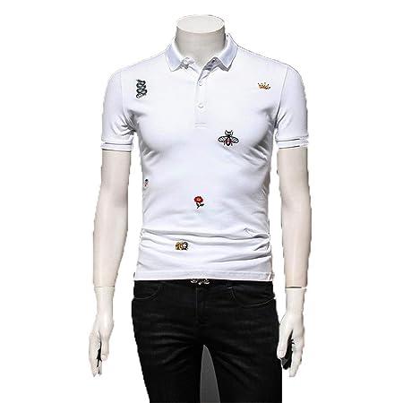 Camiseta superior delgada Botón de cuello de solapa para hombre ...
