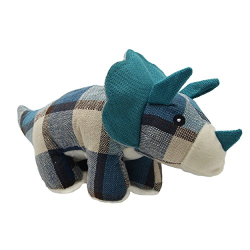 YAODHAOD Dog Linen Toy, Pet Dog Molars Chewing Toy Puppy Whistle Squeaky Plush Toy, Dinosaur Sounding Toy(Stegosaurus, Triceratops, Dolphins) (Triceratops, Blue)