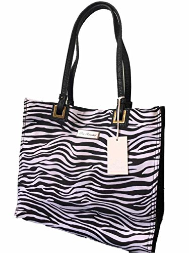 de Noir amp; Rossini Tote Sac Summer Holiday Blanc z Motif Canvas Rochelle plage Pia Yqg1UWa