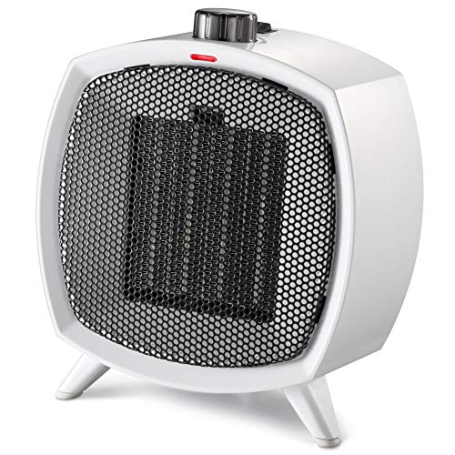 HOME_CHOICE Small Ceramic Space Heater Electric Portable Heater with Adjustable Thermostat and Overheat Protection ETL Listed for Home Office and Kitchen Indoor Use,750W 1500W White