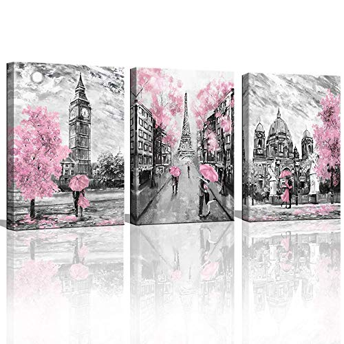 CANVASZON Black and White Canvas Wall Art for Living Room Bedroom Bathroom Girls Pink Paris Theme Room Decor Oil Painting Print London Big Ben Tower Eiffel Painting for Wall Decor Pink (Paris Bedroom Decor)