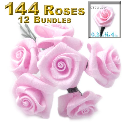 Twelve Bundle 12 Handmade Folded ribbon Roses, 0.25-inch wide rose 4-inch long wire stem, Pink ()