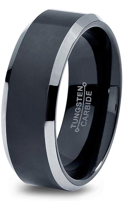 Tungsten Wedding Band Ring 8mm for Men Women Comfort Fit Black Beveled Edge Brushed Polished Lifetime Guarantee HGWWLYB