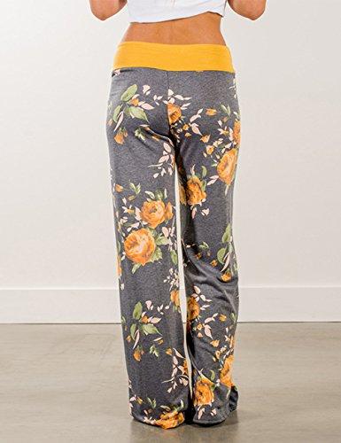 Pantalones Amarillo Alta Ancha Palazzo Estampado Pijama Pierna Exlura Floral Cintura De Femeninos Con ZwcOvdqAO